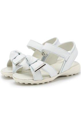 Кожаные сандалии с застежками велькро и бантом   Фото №1