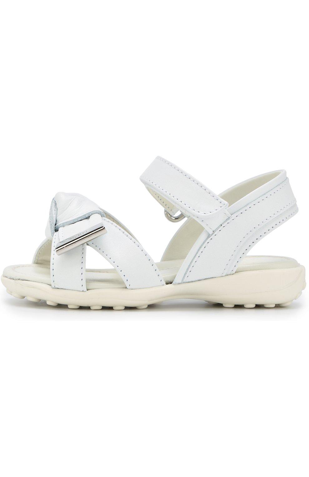Кожаные сандалии с застежками велькро и бантом   Фото №2