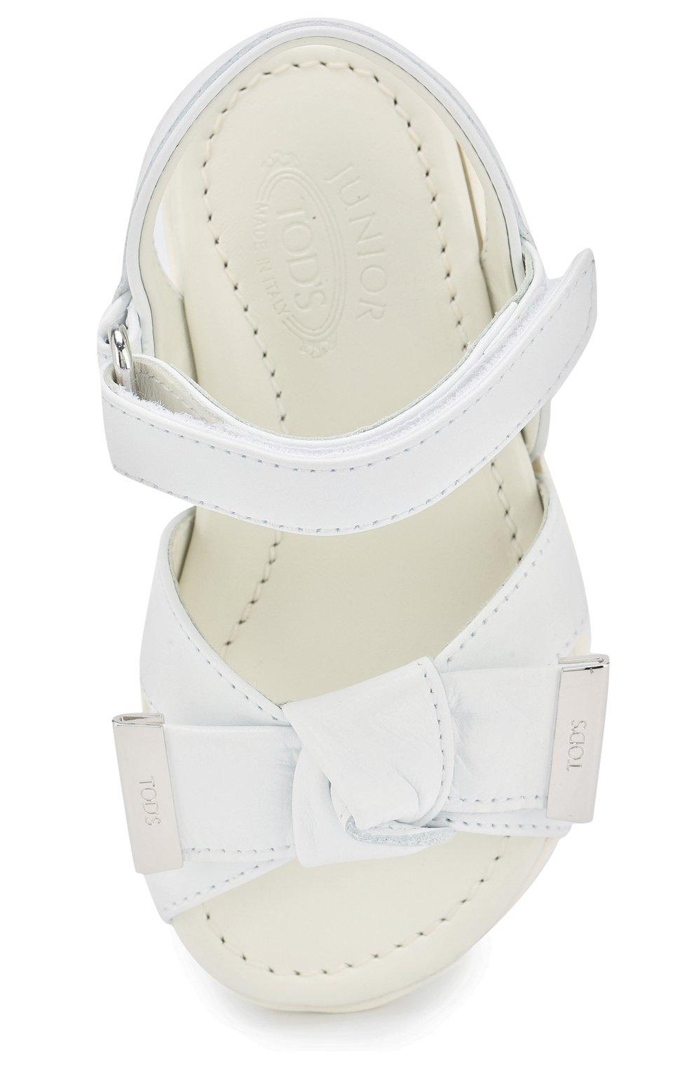 Кожаные сандалии с застежками велькро и бантом   Фото №4