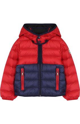 Детского пуховая куртка на молнии с капюшоном MONCLER ENFANT красного цвета, арт. D1-951-41862-05-53048 | Фото 1