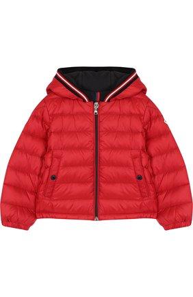 Детского пуховая куртка на молнии с капюшоном MONCLER ENFANT красного цвета, арт. D1-951-40319-05-53048 | Фото 1