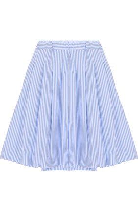 Хлопковая юбка свободного кроя с защипами | Фото №1