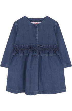 Детского джинсовый плащ с оборкой и круглым вырезом IL GUFO синего цвета, арт. P18GE026J0003/12M-18M | Фото 1