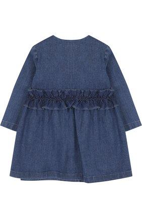 Детского джинсовый плащ с оборкой и круглым вырезом IL GUFO синего цвета, арт. P18GE026J0003/12M-18M | Фото 2