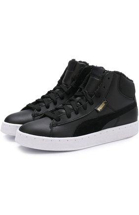 Высокие кожаные кеды на шнуровке Puma черные   Фото №1