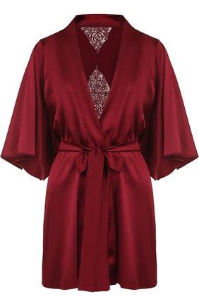 Шелковый мини-халат с поясом Fleur of England красный   Фото №1