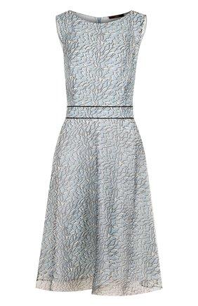 Приталенное шелковое платье с принтом Windsor голубое | Фото №1