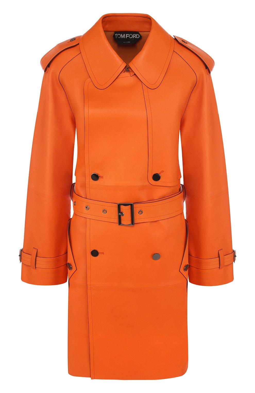 Женское кожаное пальто с поясом TOM FORD оранжевого цвета, арт. CPL650-LEX181 | Фото 1