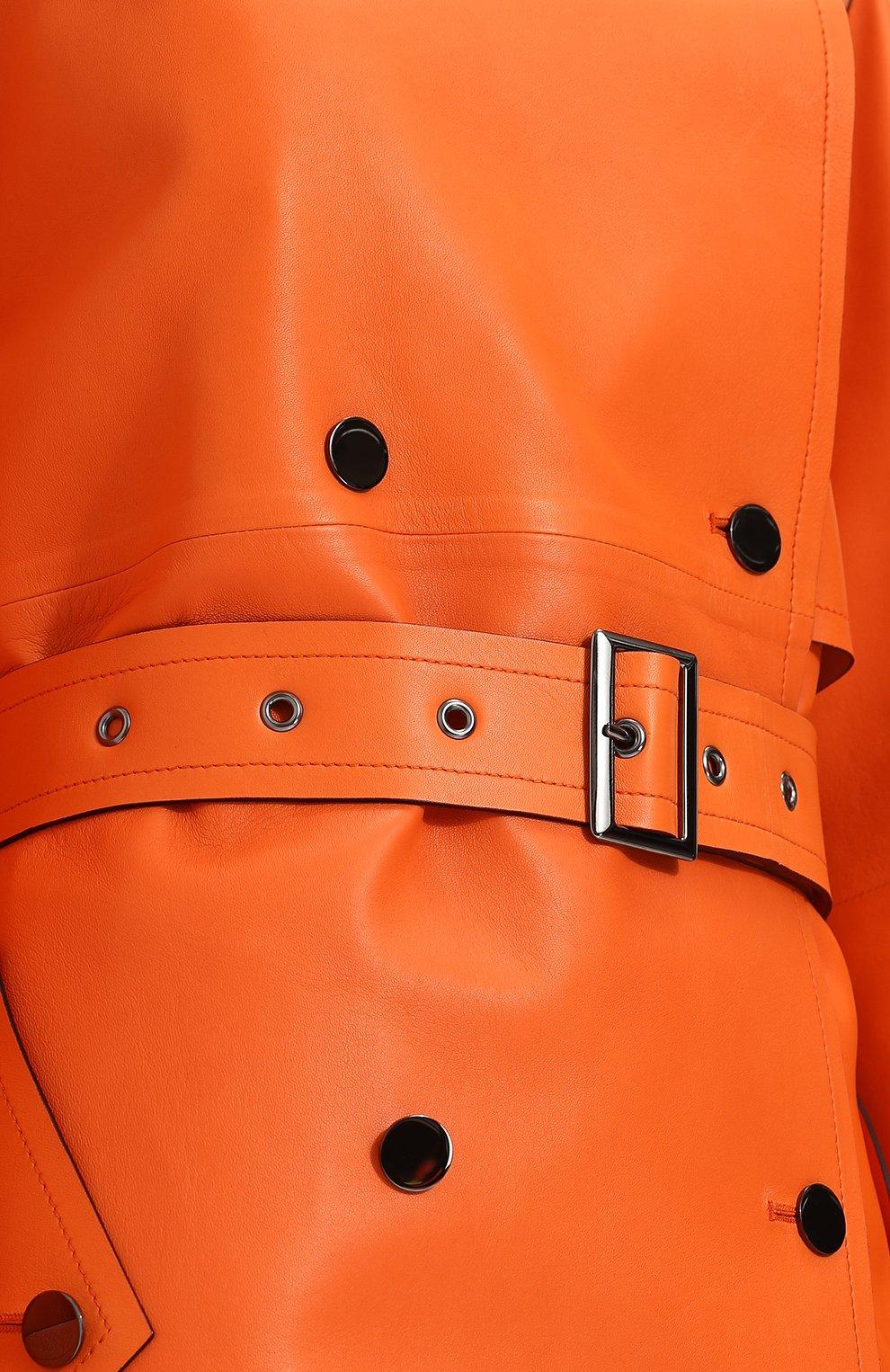 Женское кожаное пальто с поясом TOM FORD оранжевого цвета, арт. CPL650-LEX181 | Фото 5