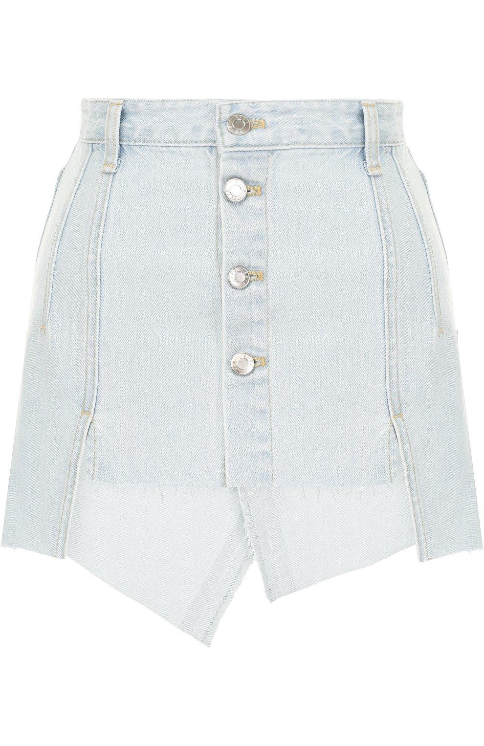 Женская джинсовая мини-юбка с потертостями STEVE J & YONI P голубого цвета, арт. PWMS2D-S01900   Фото 1