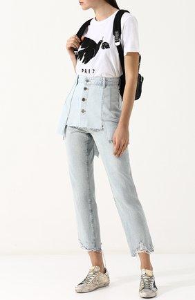 Женская джинсовая мини-юбка с потертостями STEVE J & YONI P голубого цвета, арт. PWMS2D-S01900   Фото 2