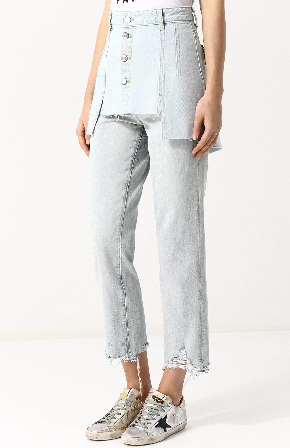 Женская джинсовая мини-юбка с потертостями STEVE J & YONI P голубого цвета, арт. PWMS2D-S01900   Фото 3