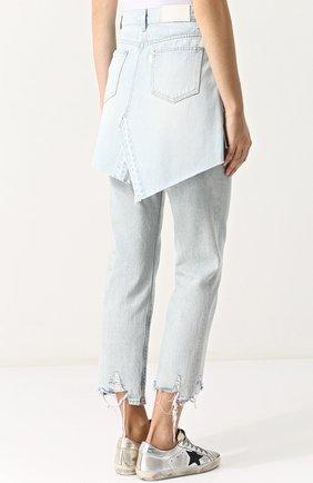 Женская джинсовая мини-юбка с потертостями STEVE J & YONI P голубого цвета, арт. PWMS2D-S01900   Фото 4