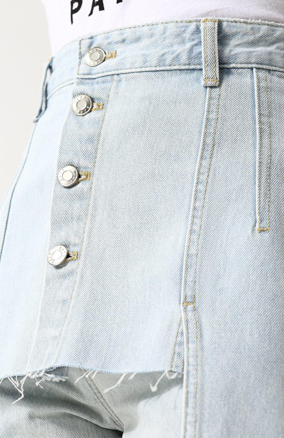 Женская джинсовая мини-юбка с потертостями STEVE J & YONI P голубого цвета, арт. PWMS2D-S01900   Фото 5