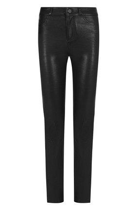 Укороченные кожаные брюки Paige черные   Фото №1