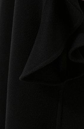 Однотонная шерстяная накидка с оборками | Фото №5