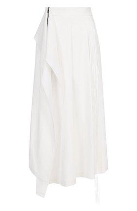 Льняная юбка-миди асимметричного кроя с оборками | Фото №1