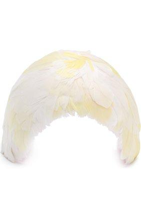 Ободок с отделкой из перьев Erdem желтого цвета | Фото №1