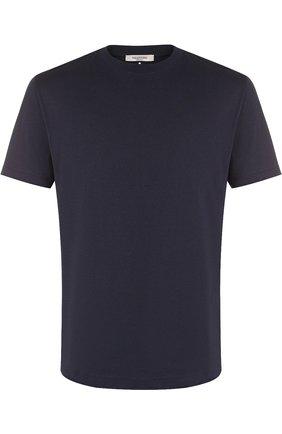 Мужская хлопковая футболка с круглым вырезом VALENTINO темно-синего цвета, арт. QV3MG08Y3LE   Фото 1