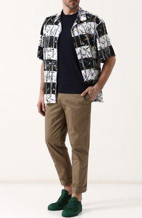 Мужская хлопковая футболка с круглым вырезом VALENTINO темно-синего цвета, арт. QV3MG08Y3LE   Фото 2