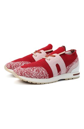 Женские комбинированные кроссовки 360 lp walk LORO PIANA красного цвета, арт. FAI1590 | Фото 1