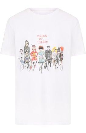 Хлопковая футболка прямого кроя с принтом | Фото №1