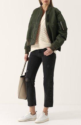 Укороченные джинсы с потертостями Current/Elliott серые   Фото №1