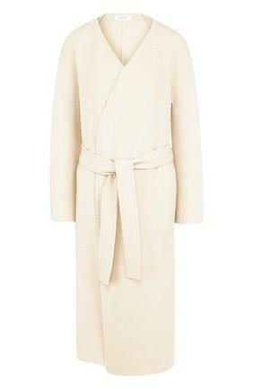 Однотонное пальто из смеси кашемира и шерсти с поясом The Row бежевого цвета | Фото №1