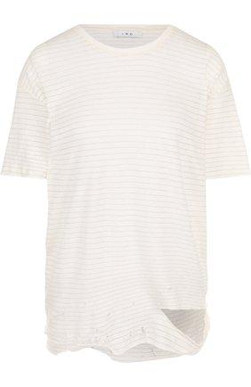 Льняная футболка с круглым вырезом в полоску | Фото №1