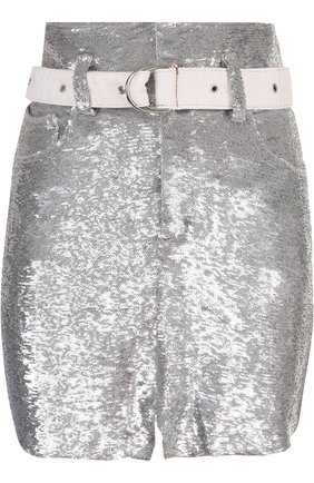 Мини-юбка с пайетками и поясом | Фото №1