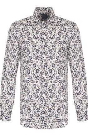 Льняная рубашка с принтом Barba разноцветная   Фото №1