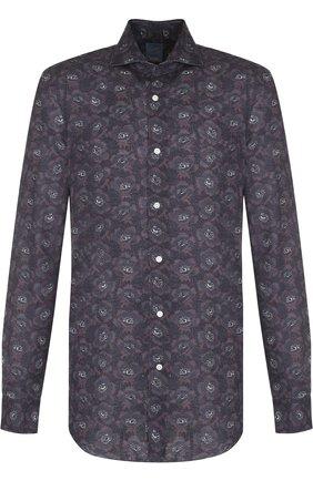 Льняная рубашка с принтом Barba темно-синяя   Фото №1