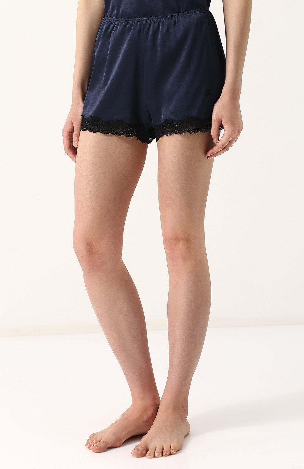 Женские шелковые мини-шорты с кружевной отделкой VANNINA VESPERINI темно-синего цвета, арт. VVPE18-26   Фото 3