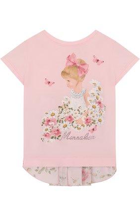 Хлопковая футболка с декоративной вставкой на спине и принтом   Фото №1