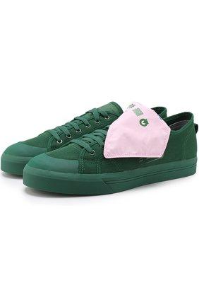 Текстильные кеды Spirit на шнуровке adidas by Raf Simons темно-зеленые | Фото №1