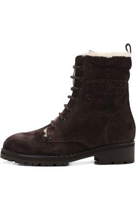 Женские замшевые ботинки на шнуровке BOTTEGA VENETA темно-коричневого цвета, арт. 496195/VFCA1 | Фото 3