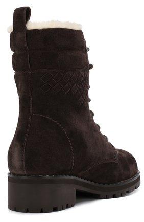 Женские замшевые ботинки на шнуровке BOTTEGA VENETA темно-коричневого цвета, арт. 496195/VFCA1 | Фото 4