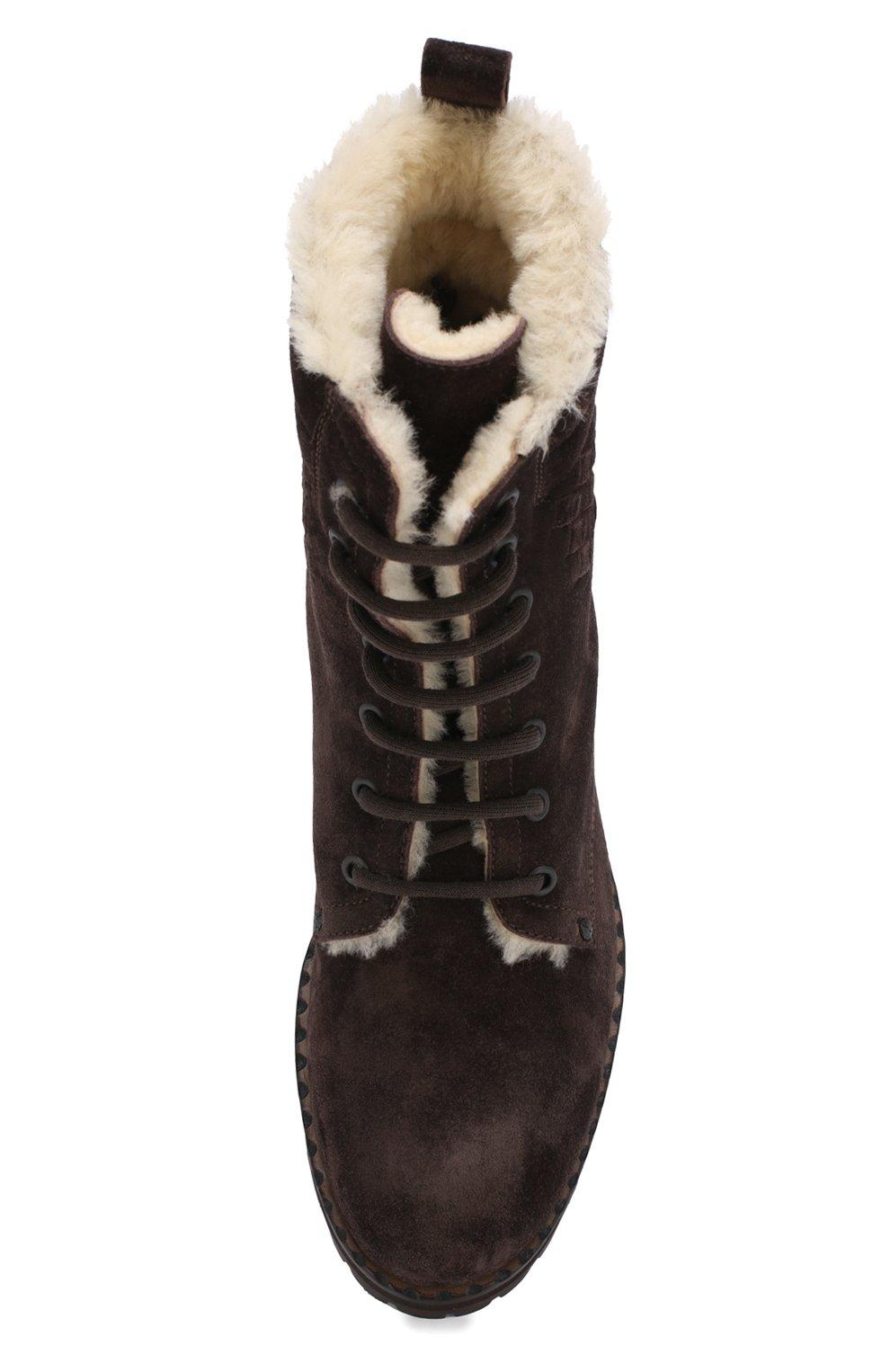 Женские замшевые ботинки на шнуровке BOTTEGA VENETA темно-коричневого цвета, арт. 496195/VFCA1 | Фото 5