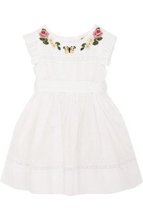 Хлопковое платье с вышивкой и широким поясом | Фото №1
