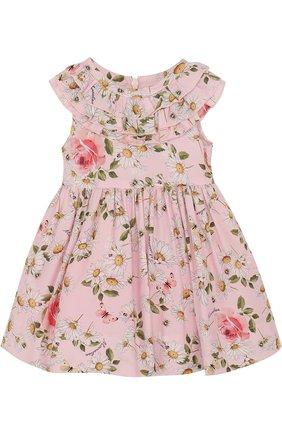 Платье из вискозы с принтом и оборками   Фото №1