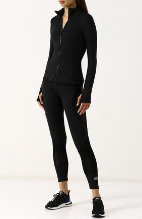 Однотонный спортивный кардиган на молнии adidas by Stella McCartney черного цвета | Фото №1