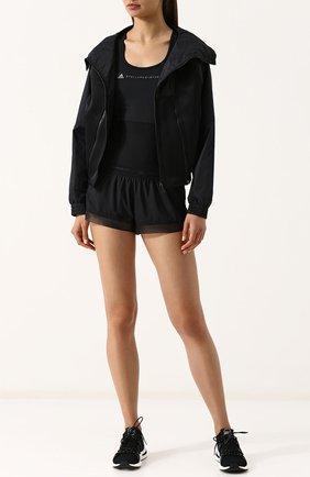 Спортивная ветровка с воротником-стойкой adidas by Stella McCartney черного цвета | Фото №1