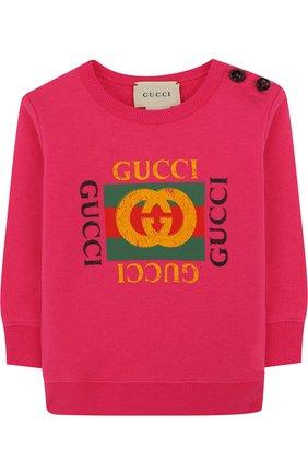 Детский хлопковый свитшот с логотипом бренда GUCCI фуксия цвета, арт. 497819/X9P52 | Фото 1