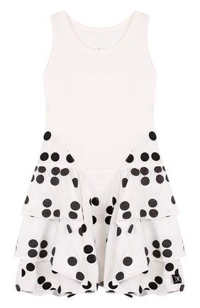 Хлопковое мини-платье с контрастными оборками | Фото №1