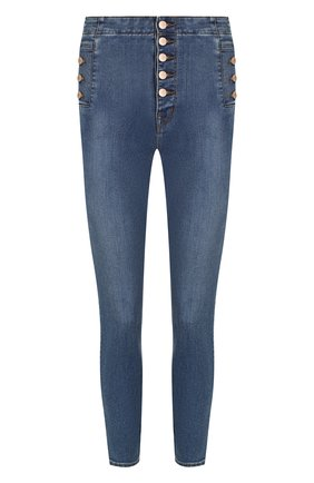 Укороченные джинсы-скинни с потертостями | Фото №1