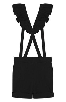 Детский комбинезон джерси с декоративными оборками Sonia Rykiel Enfant черного цвета | Фото №1