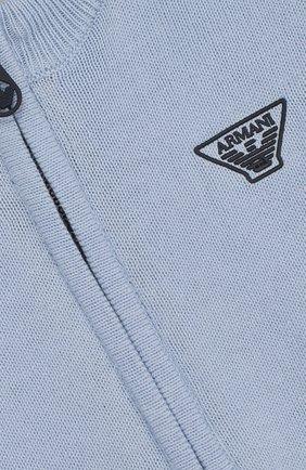 Детский хлопковый кардиган на молнии с воротником-стойкой ARMANI JUNIOR голубого цвета, арт. 3ZHE51/4M05Z   Фото 3 (Кросс-КТ НВ: Спорт-одежда; Рукава: Длинные; Материал внешний: Хлопок; Статус проверки: Проверено)