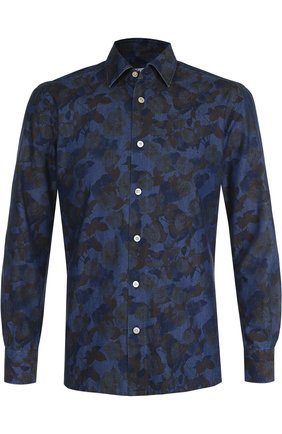 Мужская хлопковая рубашка с принтом KITON хаки цвета, арт. UMCNERH0633810000 | Фото 1