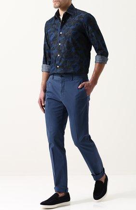 Мужская хлопковая рубашка с принтом KITON хаки цвета, арт. UMCNERH0633810000 | Фото 2