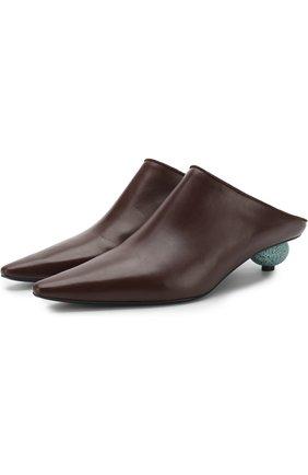 Кожаные мюли на фигурном каблуке | Фото №1